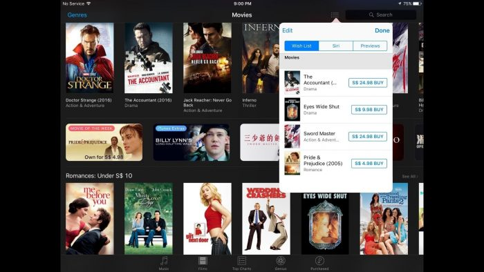 how to add movies to itunes wish list